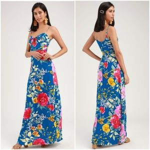 BLUE FLORAL PRINT MAXI DRESS